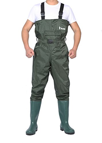 Ouzong Cleated Fishing Hunting 2-Ply Nylon/PVC Waterproof Boot-foot Chest Wader, Green – 9