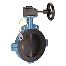 "Garlock VAL02-10003G 150# Series SAFETY-SEAL Butterfly Valve, 111-A Ductile Iron Wafer Body, Anti-Static PTFE Disc and Liner with Gear Operator, 4"", Blue/Black"