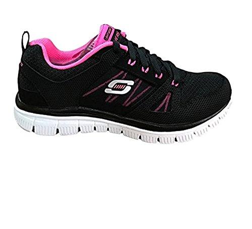 Skechers Sport Dames Flex Appeal Aanpasbare Fashion Sneaker Zwart / Roze / Wit