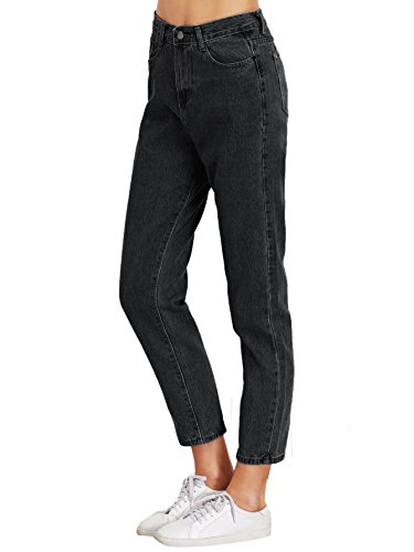 SweatyRocks Women's Juniors Boyfriend Jean High Waist Capri Cropped Denim Jeans (27, - Boyfriends Black