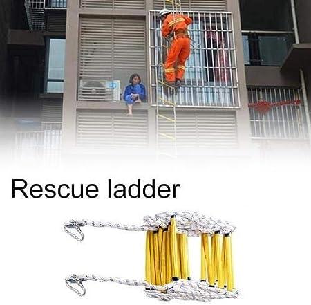 Escalera de Cuerda de Escape de Incendio - 5,10 Metros Escalera de Evacuación Emergencia para Adultos Niños, Escalera de Seguridad con Ganchos para Rescate Escape, Fuerte Plegable (5M): Amazon.es: Bricolaje y herramientas