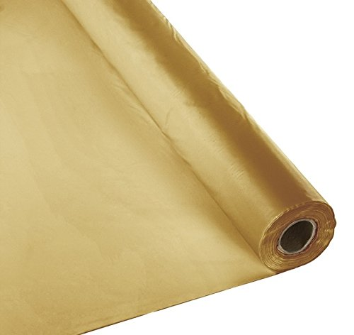 Plastic Party Banquet Table Cover Roll - 300 ft. x 40 in. - Disposable Tablecloth (Gold)