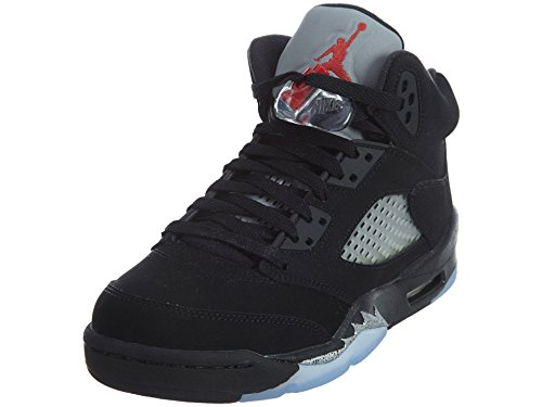 Jordan 5 Retro Big Kids Style, Black/Fire Red/Metallic Silver/White, 7