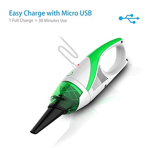 Smart Handheld Cordless Vacuum Car Cleaner Home Cyclonic Suction Wireless Portable with USB Rechargeable Cable (Green White) - Green Rechargeable Vacuum