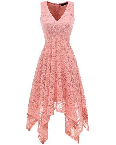 Blush Neck Lace Hem Handkerchief Dress Bridesmay Women's Cocktail Sleeveless V Asymmetrical 0nH7xv