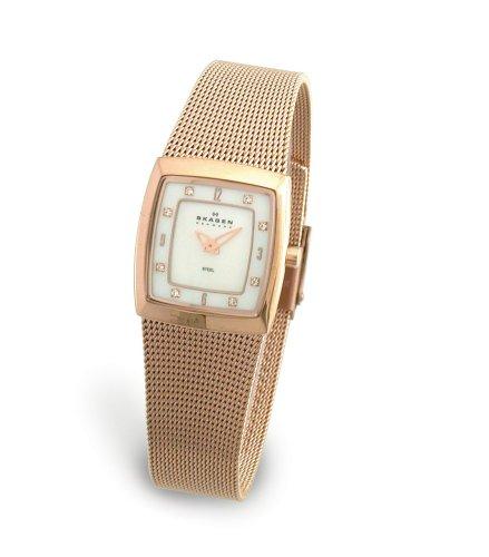 Skagen 380XSRR1 - Reloj de mujer de cuarzo, correa de acero inoxidable color oro
