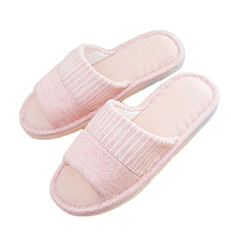 (xsby Flip Flop Slippers for Women, Cozy Memory Foam Spa Thong Flip Flops House Indoor Slippers Clog Style Pink-C 36-37)