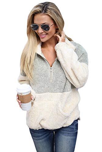 Zip Fur Hoody - Ouregrace Womens Zip Neck Oversized Color Block Fleece Sweatshirt Pullover Top Outwear (S-XXL) (Grey, M(US 8-10))