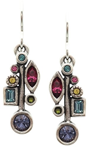 Patricia Locke Celebration Multi Color Frostbite Swarovski Crystal Silvertone Hook Earrings