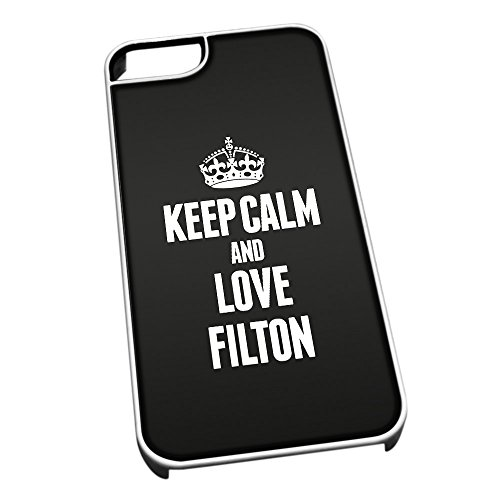 Bianco per iPhone 5/5S 0260 Nero Keep Calm And Love Filton