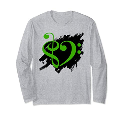 Treble Clef Bass Clef Green Heart Grunge Brush Strokes Bassist Long Sleeve T-Shirt