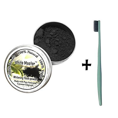 Hennta natural orgánico activado carbón de bambú polvo dientes blanqueamiento total blancos seguro eficaz blanqueador...