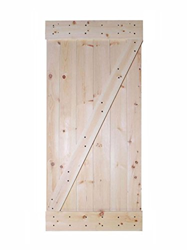 "Pine Doors (TMS 36"" x 84"" Solid Core Unfinished Plank Knotty Pine Barn Wood Sliding Interior Door)"