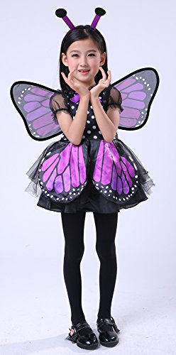 SEASONS DIRECT Halloween Girl Brilliant Butterfly Purple Costume with Wing & headband -