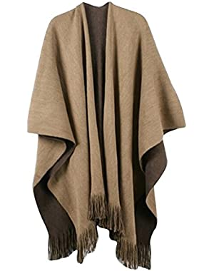 Womens Winter Solid Knitted Cashmere Poncho Capes Shawl Sweater