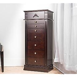 "Haven Home 6008-783 Stella Large Jewelry Armoire, 18-5/8"" x 12-1/8"" x 42-1/8"", Walnut"