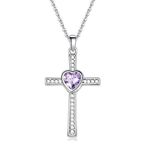 6 Stone Cross - Sunflower Jewellery Birthstones Cross Necklace Heart Crystal Pendant Necklace For Women (6-June)