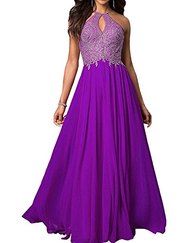 Purple Masquerade Dresses (Lace Applique Sleeveless Purple Evening Dresses Long for Women Formal)