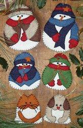 Snow Folk Ornament Kit-Set Of Six (Tree Kit Craft)