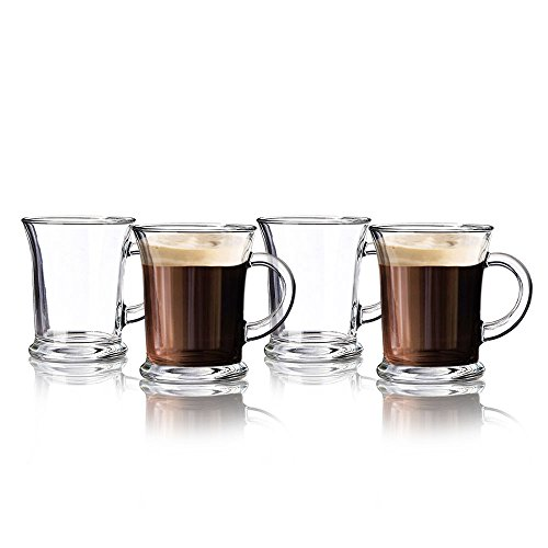 Irish Coffee Mugs - 12 Oz. Footed Glasses, Set of 4 ~ For Coffee, Esspresso, Hot Chocolate, Smoothies (Design 4) (Glass Footed Mug)