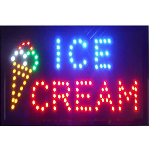 Led Ice Cream Sign for Business - Neon Ice Cream Open Signs, Ice Cream Led Neon Signs, Window Sign, Business Sign, Store Sign, Great for Ice Cream Store, Bar, Coffee ()