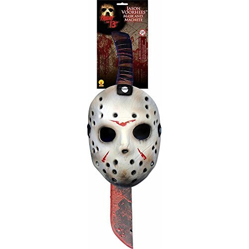 Jason Voorhees Mask & Machete Set White/Red (Jump Suit Kids)