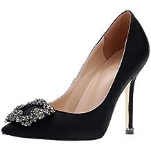 EKS Women's Satin Full Sole Diamonds Pointy Closed Toe High Heel Pumps