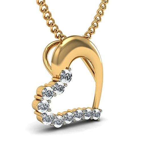 14K Or jaune 0.11CT TW Round-cut-diamond (IJ | SI) Pendentif