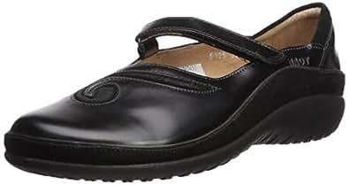Naot Women's Matai Mary Jane Flat,Black Madras Leather/Black Suede,35 EU/4-4.5 M US