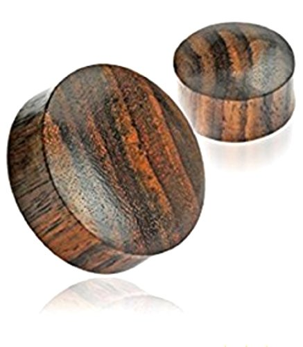 Inspiration Dezigns Pair of 25mm Sono Wood Saddle Fit Solid Organic Ear Plugs Expander