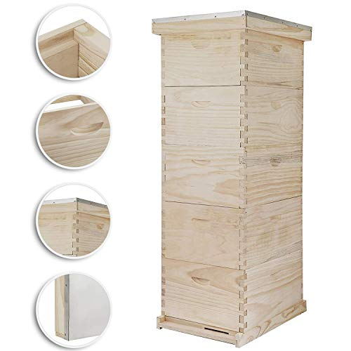 Happybuy 5 Boxes 10-Frame Bee Hive 1 Deep and 4 Medium Box Beehive Frames Langstroth Beehive Box Kit Frames Not Included (10-Frame Bee Hive)