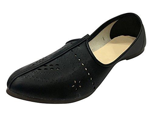 Step N Style Hombres Zapatos Negros Khuusa Jutti Zapatos Indios Jalsa Hechos A Mano Mojari