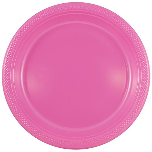 JAM PAPER Round Plastic Party Plates - Large - 10 1/4 inch - Fuchsia Hot Pink - 20/Pack ()