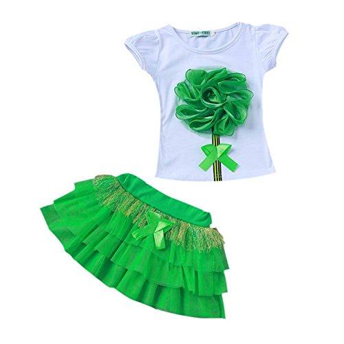 Fleurs 3d Filles Weixinbuy T-shirt + Plage Casual Jupe Tutu 2pcs Robe Tutu Green Set