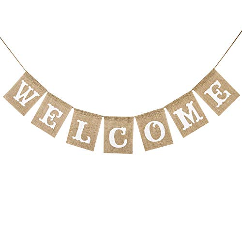 Burlap Welcome Banner Vintage Rustic Bunting Sign Fireplace Home Party Decoration