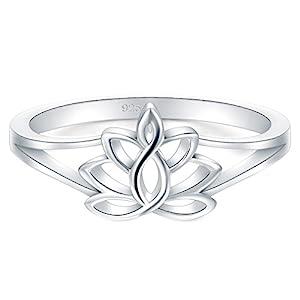 BORUO 925 Sterling Silver Ring, Lotus Flower Yoga High Polish Tarnish Resistant Comfort Fit Wedding Band 2mm Ring…