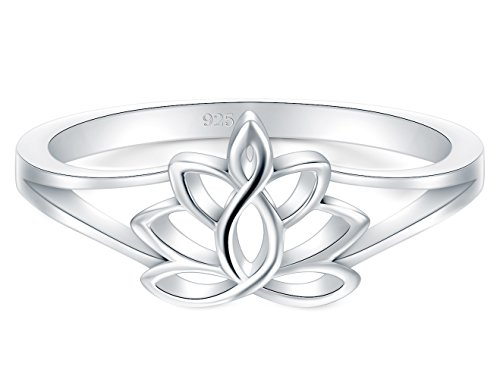BORUO 925 Sterling Silver Ring, Lotus Flower Yoga High Polish Plain Dome...