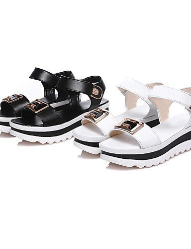 ShangYi Womens Shoes Microfibre Platform Peep Toe / Platform Sandals Outdoor / Casual Black / White White