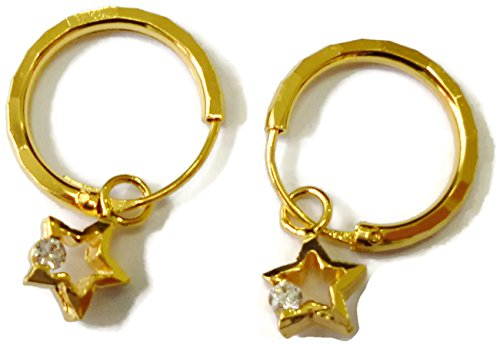 24k Yellow Gold Plated Small Hoop Earrings 14 mm D x 1.5 mm with Removable Star Charm #B (Earrings Hoop Charm)