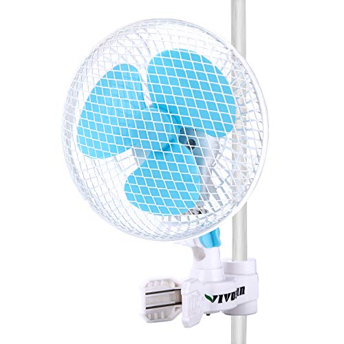 - VIVOSUN 6 Inch Clip on Oscillating Fan Fit for 0.59 to 1 Inch Grow Tent Pole with 2-Speed Control