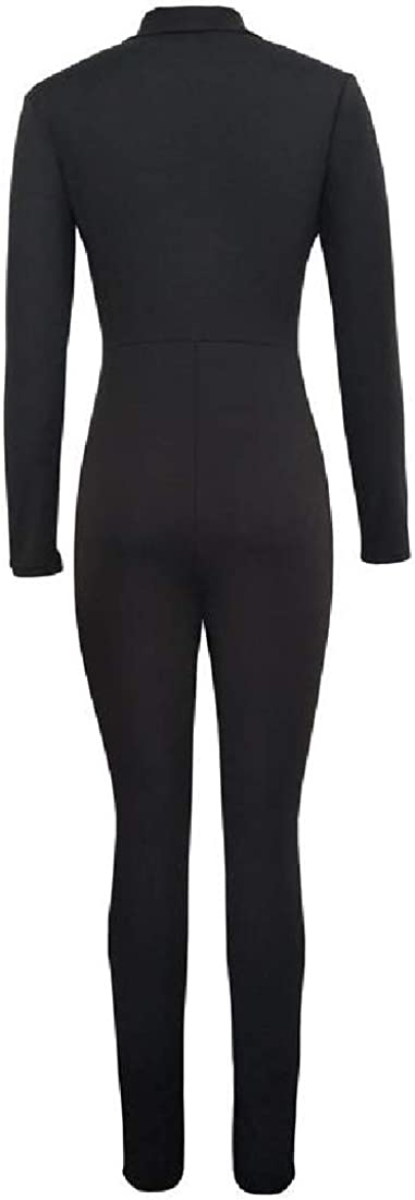 YUNY Womens Bodycon Long Sleeve Zip Up Regular Overall Formal Jumpsuit Black L