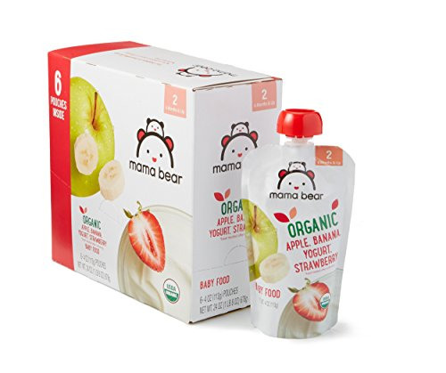 Amazon Brand - Mama Bear Organic Baby Food, Stage 2, Apple Banana Yogurt Strawberry, 4 Ounce Pouch (Pack of 12) ()