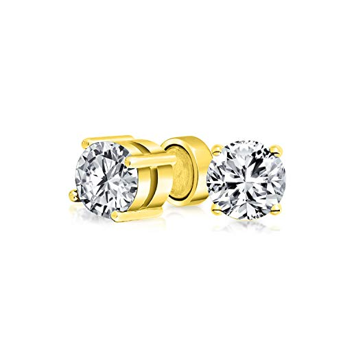1.25CT Round Cubic Zirconia Solitaire CZ Magnetic Clip On Stud Earrings Non Pierced 14K Gold Plated Sterling Silver