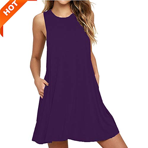 (Mifidy Women's Casual Tank Dress, Prime Fashion Stretchy Spring Casual Sleeveless Mini Plain Pleated Knee Length Tank Vest Dresses with Pockets Sexy Beach Dresses for Ladies(Large,Purple))