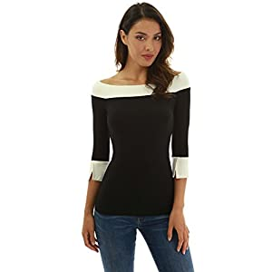 PattyBoutik Women Contrast Color 3/4 Sleeve Blouse (Black and Ivory Small)