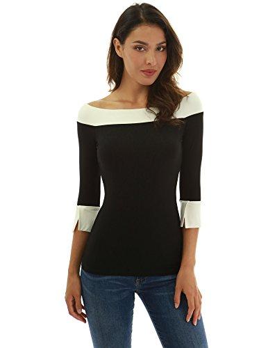 PattyBoutik Women Contrast Color 3/4 Sleeve Blouse