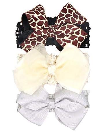 3x Headband Baby Girl Toddler Newborn Pastel Fabric Bow Nylon Hair Accessory