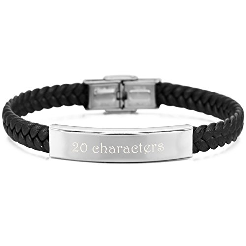 Customized Silver Bracelets (MeMeDIY Black Silver Tone Stainless Steel Genuine Leather Bracelet Cuff Braided - Customized Engraving)