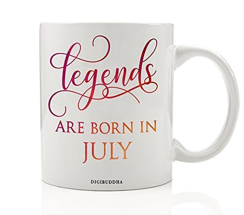 Legends Are Born In July Mug, Birth Month Quote Diva Star Winner The Best Summer Christmas Gift Idea Funny Birthday Present, Women Men Husband Wife Coworker 11oz Ceramic Tea Cup by Digibuddha DM0346