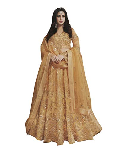 Delisa Fashion Sharara Style Salwar Kameez for Women Party Wear LT 2501 (Yellow, XL-44)